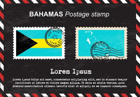 postage: Bahamas postage stamp, postage stamp, vintage stamp, air mail envelope.