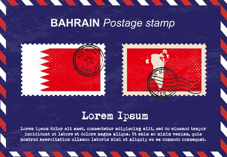 air mail: Bahrain postage stamp, postage stamp, vintage stamp, air mail envelope.