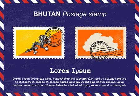 postage stamp: Bhutan postage stamp, postage stamp, vintage stamp, air mail envelope. Illustration