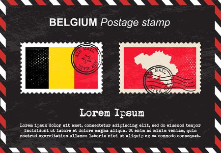 postage stamp: Belgium postage stamp, postage stamp, vintage stamp, air mail envelope.