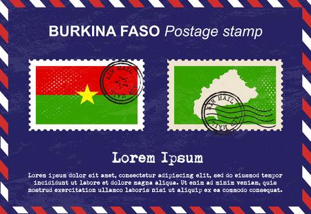 burkina faso: Burkina Faso postage stamp, vintage stamp, air mail envelope.