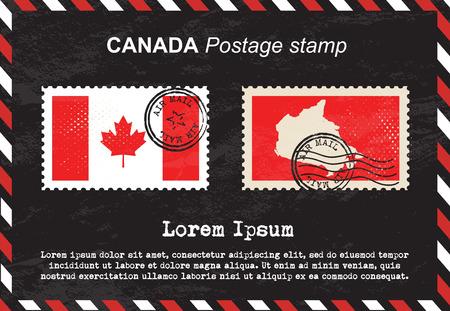 canada stamp: Canada postage stamp, vintage stamp, air mail envelope. Illustration