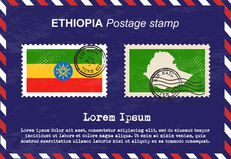 air mail: Ethiopia postage stamp, vintage stamp, air mail envelope.