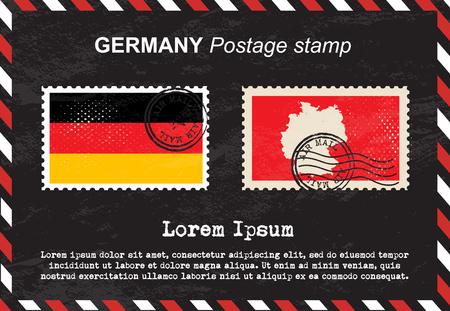 postage: Germany postage stamp, vintage stamp, air mail envelope.