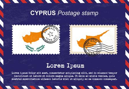 Cipro francobollo, vintage timbro, busta di posta aerea.