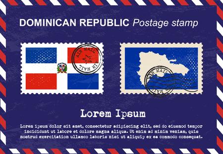 sello postal: Dominicana sello, sello, sello de la vendimia, el correo a�reo sobre. Vectores