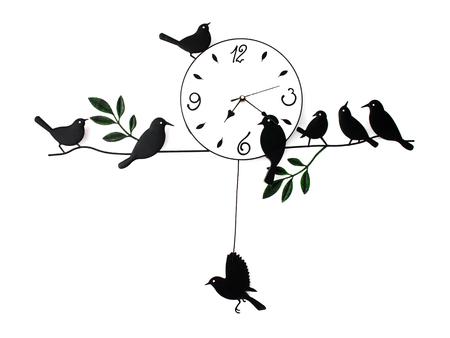 aislado reloj analógico clásico, vintage reloj de pared, reloj de la casa del pájaro