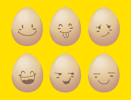 vector of egg with smile emotion. yellow background.