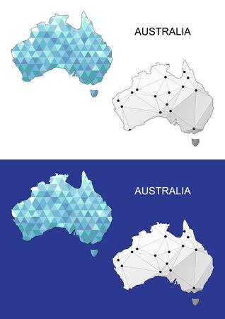 Australie carte dans un style polygonale géométrique. gemmes Résumé triangle. Australie maille.