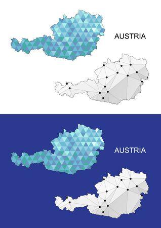 austria map: Austria map in geometric polygonal style. Abstract gems triangle. Austria mesh. Illustration