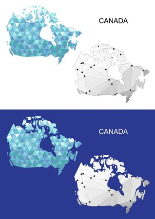 Canada map in geometric polygonal style. Abstract gems triangle.
