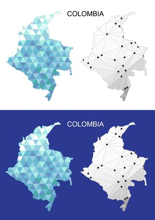 Colombia map in geometric polygonal style. Abstract gems triangle. Illustration