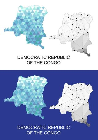 Democratic Republic of the Congo map in geometric polygonal style. Abstract gems triangle.