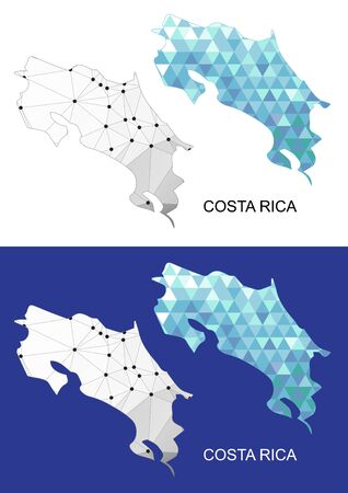 Costa Rica map in geometric polygonal style. Abstract gems triangle.
