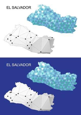 mapa de el salvador: El Salvador map in geometric polygonal style. Abstract gems triangle.