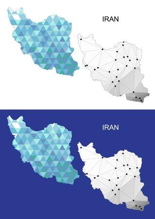 iran mosaic: Iran map in geometric polygonal style. Abstract gems triangle.
