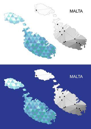 malta map: Malta map in geometric polygonal style. Abstract gems triangle.