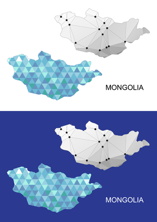 mongolia horse: Mongolia map in geometric polygonal style. Abstract gems triangle. Illustration