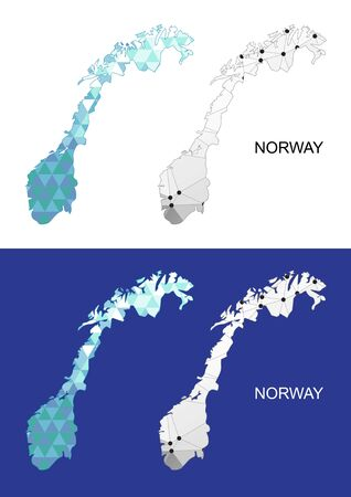 norway flag: Norway map in geometric polygonal style. Abstract gems triangle.