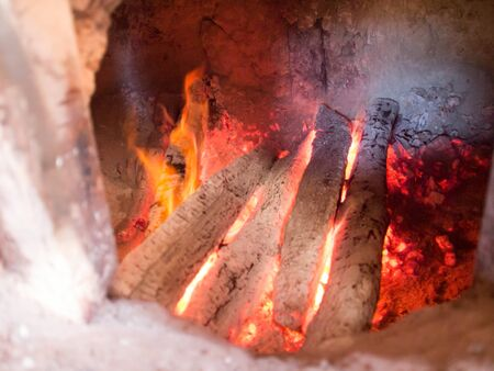 Charcoal fire in flame fire, ancient flame fire.