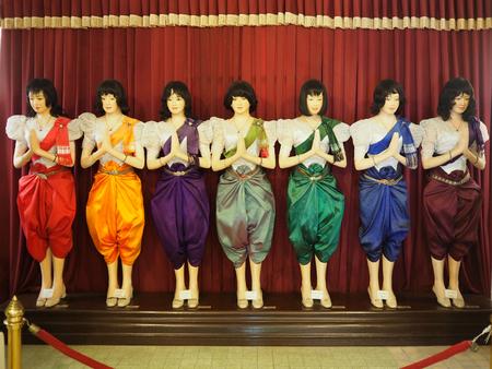 Phnom Penh, Cambodia - 5 May 2017: 7 days 7 colours of clothing dolls in Royal Palace in Phnom Penh, Cambodia.