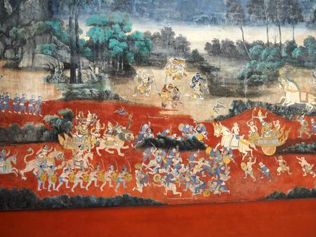 Phnom Penh, Cambodia - 5 May 2017: Painting wall of Ramayana story in Royal Palace at Phnom Penh, Cambodia.