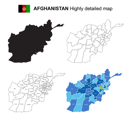 Afghanistan - Isolated vector highly detailed political map with regions, provinces and capital. All elements are separated in editable layers EPS 10. Иллюстрация