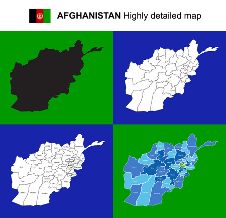 Afghanistan - vector highly detailed political map with regions, provinces and capital. All elements are separated in editable layers EPS 10. Illustration