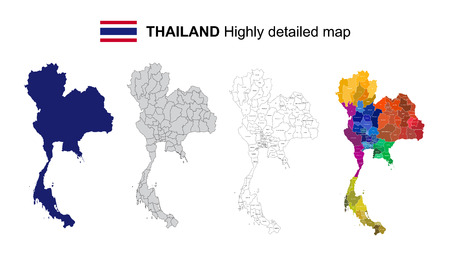 Thailand - Isolated vector highly detailed political map with regions, provinces and capital. All elements are separated in editable layers EPS 10.