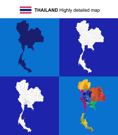 Thailand - vector highly detailed political map with regions, provinces and capital. All elements are separated in editable layers EPS 10.