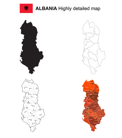 Albania - Isolated vector highly detailed political map with regions, provinces and capital. Illustration