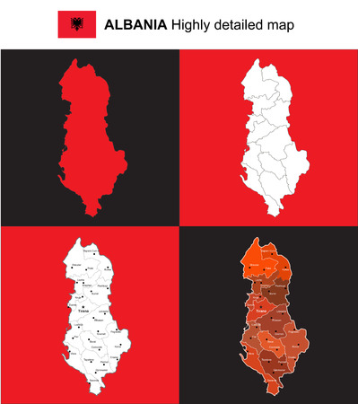 Albania - Isolated vector highly detailed political map with regions, provinces and capital. Иллюстрация