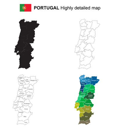 Portugal - Isolated vector highly detailed political map with regions, provinces and capital. All elements are separated in editable layers EPS 10.