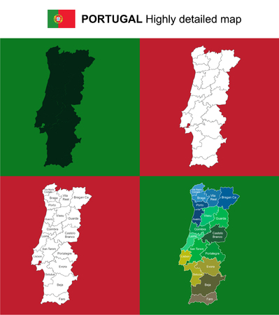 Portugal - vector highly detailed political map with regions, provinces and capital. All elements are separated in editable layers EPS 10. Illustration