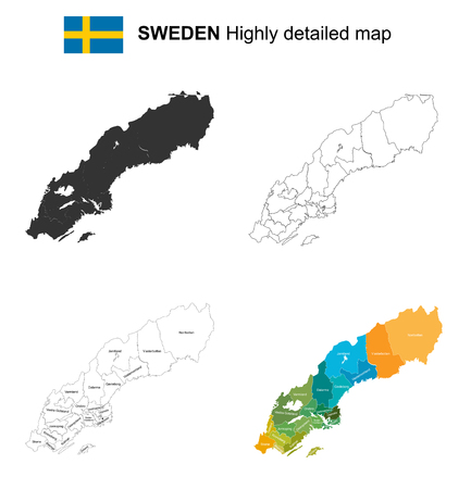 Sweden - Isolated vector highly detailed political map with regions, provinces and capital. All elements are separated in editable layers EPS 10. Illustration