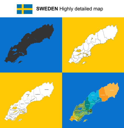 Sweden - Vector highly detailed political map with regions, provinces and capital. All elements are separated in editable layers EPS 10.