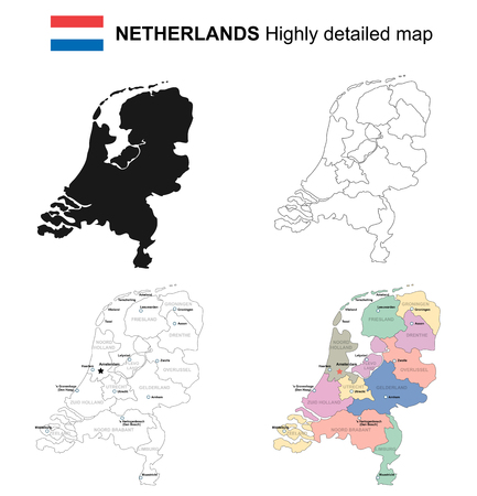 Nederland, geïsoleerde vector zeer gedetailleerde politieke kaart met regio's, provincies en kapitaal.