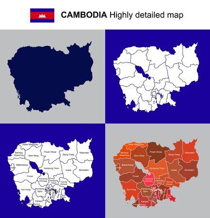 Cambodia, highly detailed political map with regions, provinces and capital.