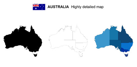 호주 - 격리 된 벡터 매우 상세한 정치지도 지역, 지방 및 자본. 모든 요소는 편집 가능한 레이어에서 구분됩니다. 일러스트