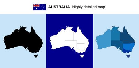 호주 - 벡터 지역, 지방, 자본과 매우 상세한 정치지도. 모든 요소는 편집 가능한 레이어에서 구분됩니다. 일러스트