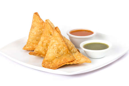 Indian special traditional street food SAMOSA Stock Photo
