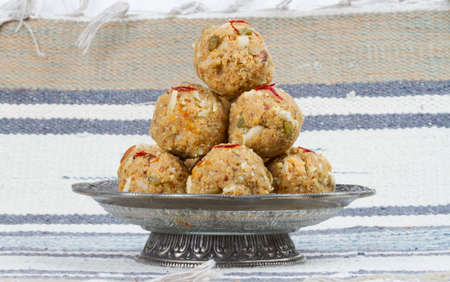 Indian Traditional Sweet Food Urad Dal Laddu made of butter, dry fruits, fenugreek and other spices, laddu food mostly eat in winter season for healthy body