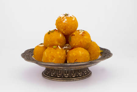 Indian Traditional Laddu Sweet Food Also Know as Motichoor Laddu Stock Photo