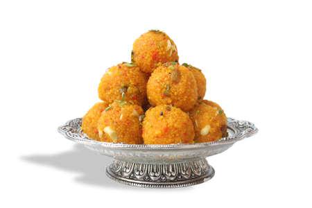 Indian Traditional Laddu Sweet Food Also Know as Motichoor Laddu 版權商用圖片