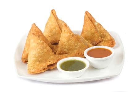 """인도 전통 전통 거리 음식 """"SAMOSA"""" 스톡 콘텐츠"""