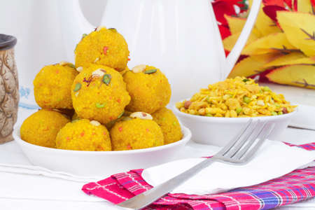 Indian Traditional Laddu Sweet Food Also Know as Motichoor Laddu Dessert isolated on White Background Stock Photo