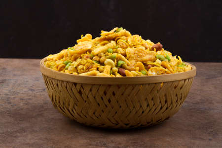 Indian special traditional salty food mixture namkeen