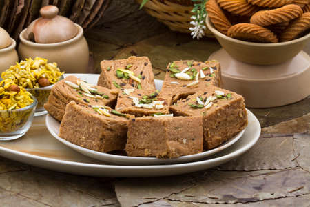 Indian special traditional sweet food Sohan Papdi Stock Photo