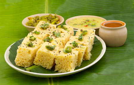 Khaman Dhokala is a food common in the Gujarat state of India made from soaked and freshly ground channa dal or channa flour