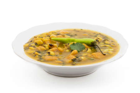 Dal Dhokali - Indian dish made with canary beans, moong dal and wheat flour. Traditional Rajasthani cuisine. Stock Photo